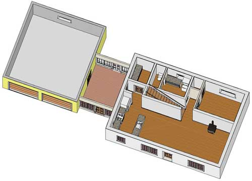 3D layout of first floor