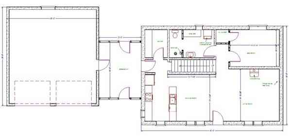 Staub design llc bungalow for Bungalow house plans with basement and garage